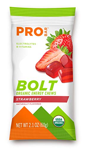 PROBAR - Bolt Organic Energy Chews, Strawberry, Non-GMO, Gluten-Free, USDA Certified Organic, Healthy, Natural Energy, Fast Fuel Gummies with Vitamins B & C - 2.1 Ounce (Pack of 12)