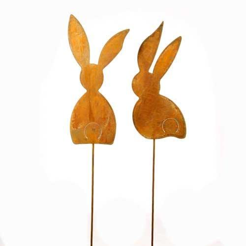 Hase, Hasen sitzend und stehend; 2 Stück; Metall, Rost; 72 cm; Beetstecker, Blumenstecker