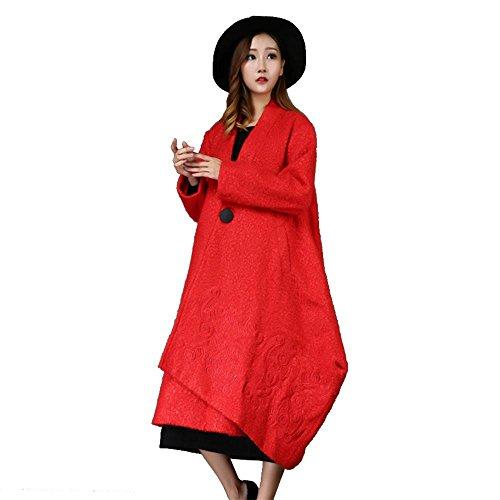 SISHUINIANHUA Herbst- und Wintermodelle Damen Retro-Mantel Wilder Mantel Wollmantel Bestickter Trompetenmantel, red