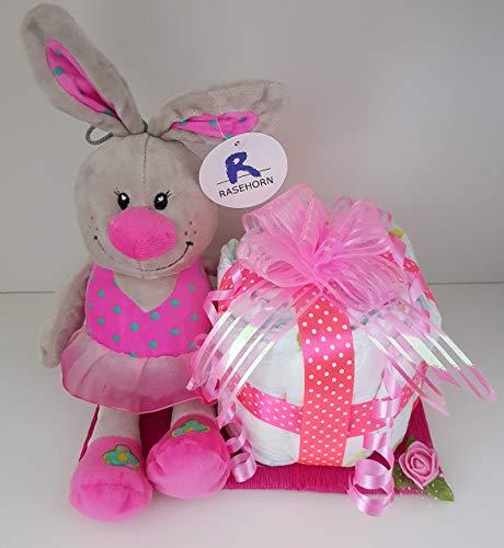 Windeltorte rosa, Set aus Pampers und Hase für Mädchen, Geburt, Taufe, Geschenk für Mädchen, Baby Party, Pampers Gr.3, Kuscheltier Hase