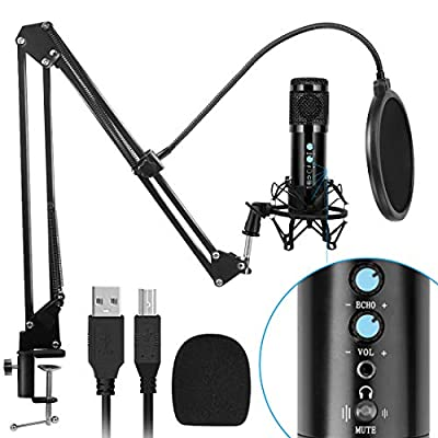 Newest USB Condenser Microphone for Computer, with Mute Key, Mic Gain/Echo Knob, PC Microphone Kit with Adjustable Metal Arm Stand, Great for Gaming, Podcast, LiveStreaming, Recording, Black