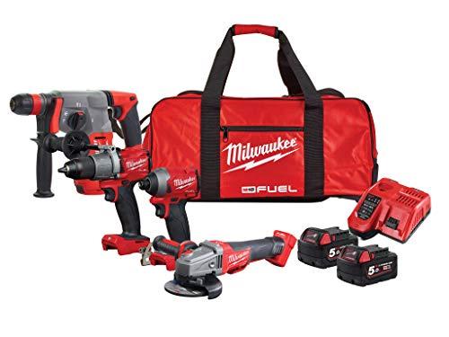 Milwaukee M18FPP5M-502B 4933478258-Pack de 5 máquinas + 2 baterías de Ion de Litio de 18 V, 5 Ah, Cargador y Bolsa de Transporte