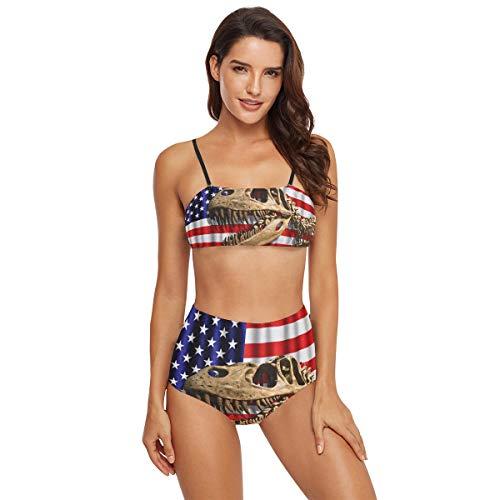 Damen-Bikini, hohe Taille, Tyrannosaurus Skelett, USA-Flagge, Badeanzug, Übergröße Gr. 52, multi