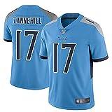 Yongge Hombres Rugby Ropa Camisetas De Jersey De Fútbol Americano Al Aire Libre Titans 17# Tannehill Jersey Ventilador Deportivo Transpirable Manga Corta(Size:Large,Color:A)