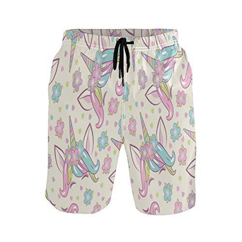 Sawhonn Lindo Unicornio Floral Deja Bañador para Hombre Pantalones Cortos Bañadores Shorts para Hombres Natacion Piscina Surf Playa
