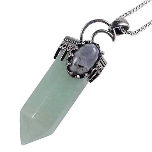 KYEYGWO Unisex Crystal Dot Pendant with Oval Labradorite Hexagonal Gemstone Necklace Retro Moon Jewellery Reiki Healing and Meditation Green