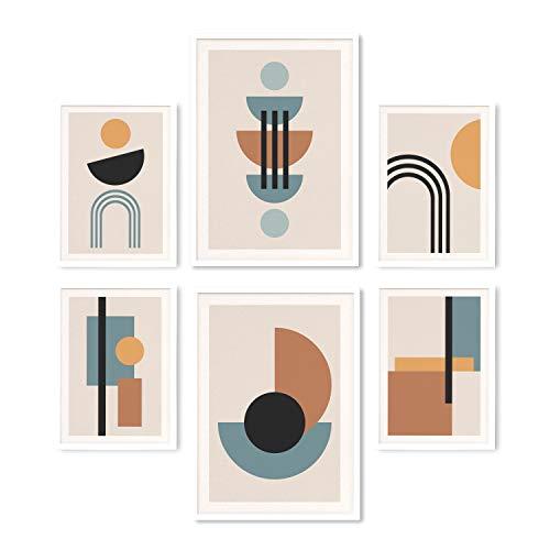KØZY LIVING® Premium Poster-Set Abstrakte Kunst geometrisch | Modern, skandinavischer Stil, beige | Deko für Wohnzimmer, Schlafzimmer | 2X DIN A3 und 4X DIN A4 (6er Set) | ohne Rahmen