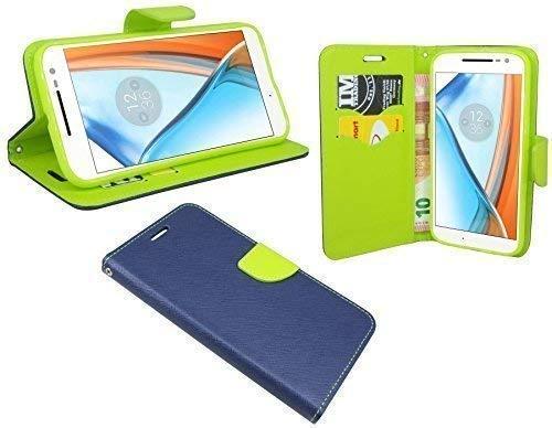 ENERGMiX Buchtasche Hülle Hülle kompatibel mit Lenovo Moto G4 Play Tasche Wallet BookStyle in Blau-Grün (2-Farbig