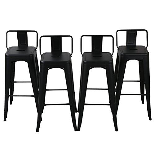 Changjie Furniture Pack of 4 Gunmetal Counter Bar Stool with Backs Indoor-Outdoor Bistro Cafe Bar Stools(30 inch, Matte Black)