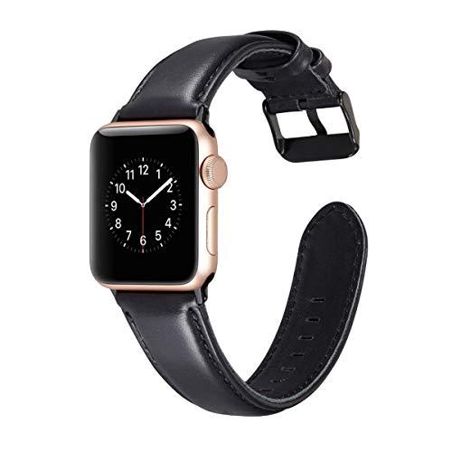 Shxchen Cuero Correa Compatible con Apple Watch 38mm 40mm 44mm 42mm, Pulsera de Repuesto Sport Banda Brazalete Transpirable Deportivo para iWatch Series 6/5/4/3/2/1/SE para Mujer y Hombre