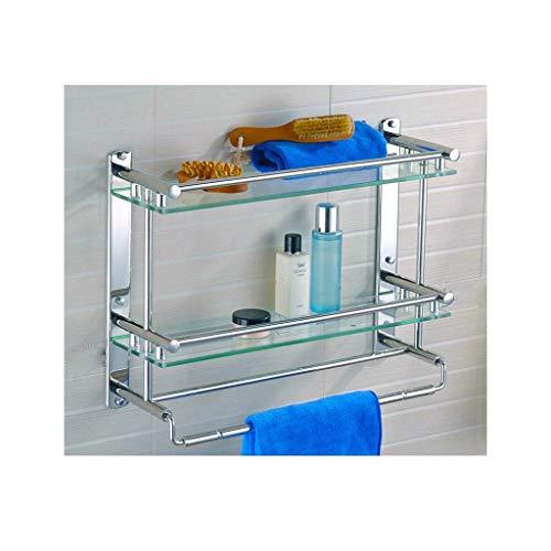 タオルバーとレールの壁に取り付けられたステンレススチール   3が付いている緩和されたガラスの棚の正方形2層の浴室の棚 BY CHJBD (Color : Double Layer, Size : 40cm)