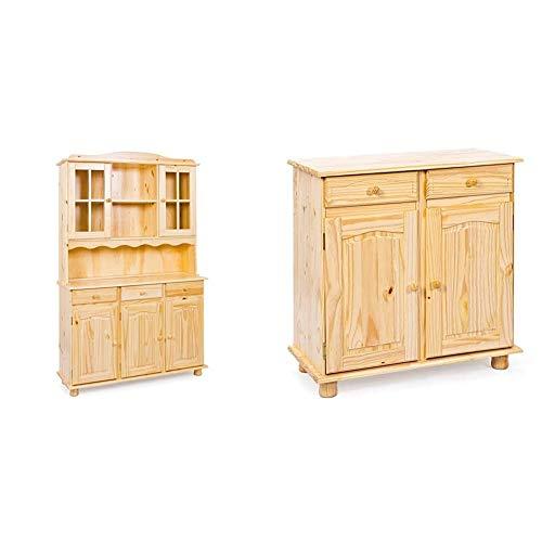 Inter Link Vitrine Kiefer Massivholz Mocca Landhausstil 4 Türen 2 Schubladen Esszimmer Küche