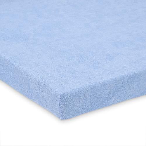 Frottee Spannbettlaken 70x140cm für Kinderbett, blau