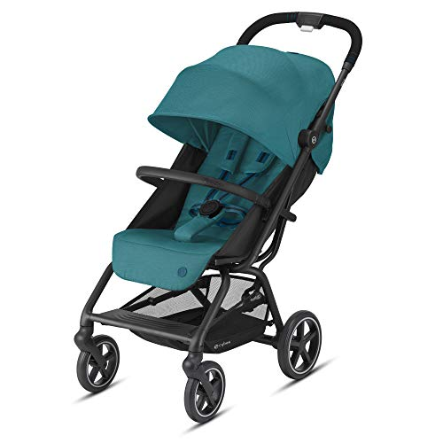 Cybex Eezy S + 2 Stroller Lightweight Travel Stroller Compatible with All Infant Car Seats Compact Fold Stands for Storage AllTerrain Wheels Baby Stroller for 6 Months+, River Blue