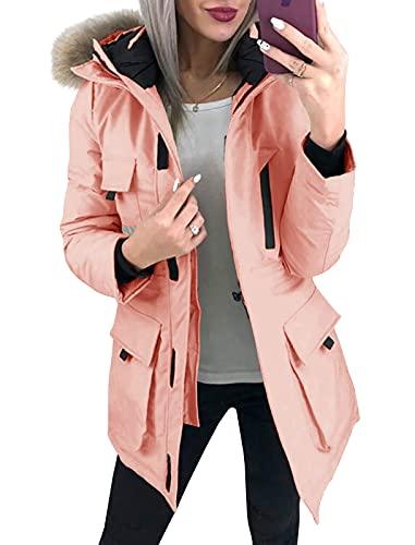 Ybenlover Parka Coats - Chaqueta de piel sintética con capucha y capucha para mujer