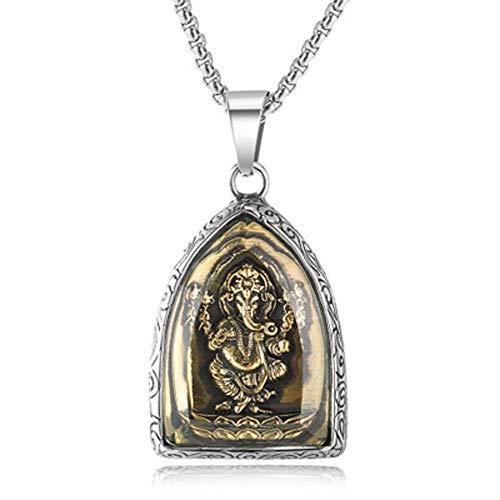 Collar con colgante de elefante de oro arena y oro con colgante de acero para hombres y mujeres