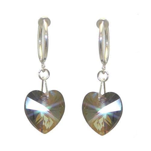 CERCEAU VALENTINE Swarovski Bronze Shade Crystal cuore Clip su orecchini placcato argento