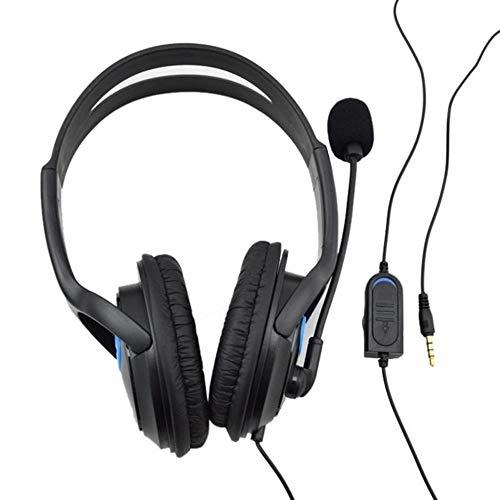 Zoe home P4-890 estéreo con Cable Auriculares Gaming Deep Bass Auriculares de 3,5 mm Plegable Auricular Portable y el Mic for PS4 / r29 PC portátil (Color : Black)