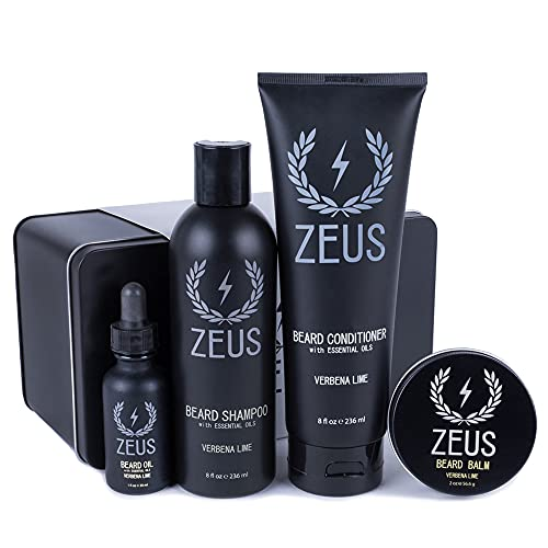 Zeus Everyday Beard Grooming Kit- Men's Daily Set for Quality Beard Maintenance (Scent: Verbena Lime)