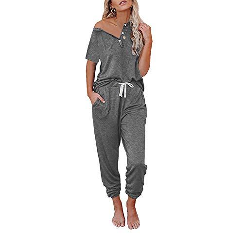 I3CKIZCE 2PCS Damen Kurzarm Trainingsanzug Loungewear Set Damen Plus Size Gym Wear O-Ausschnitt Sweatshirt mit Knopf und Jogging Bottom Outfit S-XXL(Grau, M)