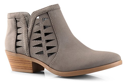 Soda Women's Perforated Cut Out Stacked Block Heel Ankle Booties Grey Nubuck PU (5.5)