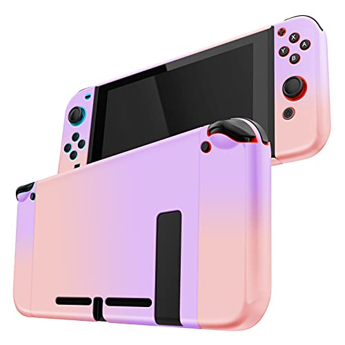OMKUY Switch Case for Nintendo Switch, Hard Shell Protective Case Separable Joy-Con Controllers, Full Cover with 2 Analog Stick Covers (Purple and Pink)