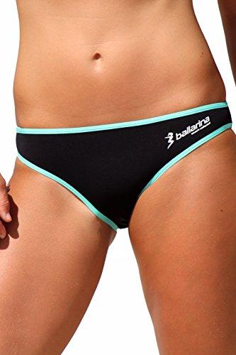 ballarina Beachvolleyball Bikini-Hose Sandpant, schwarz-Aqua Green (M)