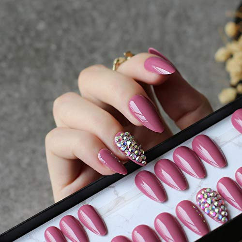 CSCH Faux ongles UV glossy wedding false nails Water droplets shiny Bean red nails stiletto full crystal diamonds Handmade 28pcs full set