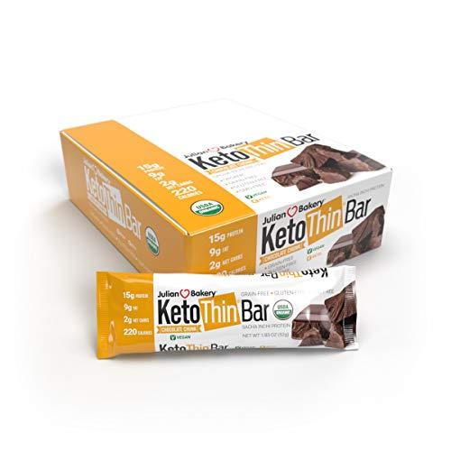 Julian Bakery Keto Thin Protein Bar | Chocolate Chunk | USDA Organic | Vegan | Sacha Inchi Protein | 15g Protein | 2 Net Carbs | 12 Bars