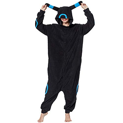 WFE&QFN Pijamas navideñosAnimal Adultos Gato Oso tiburón Onesies Pijama Mapache Zorro Disfraces dragón Mono, Azul Umbreon, L
