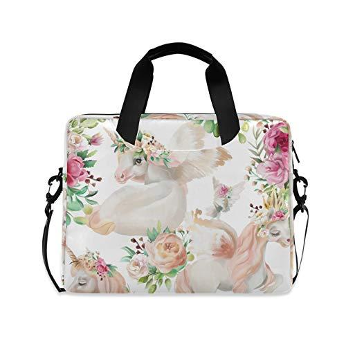 RELEESSS Laptop-Hülle, Tier, Einhorn, Blumen, Laptop-Handtasche, Aktentasche, Messenger-Tasche, Tragetasche, Tasche, verstellbarer Schultergurt