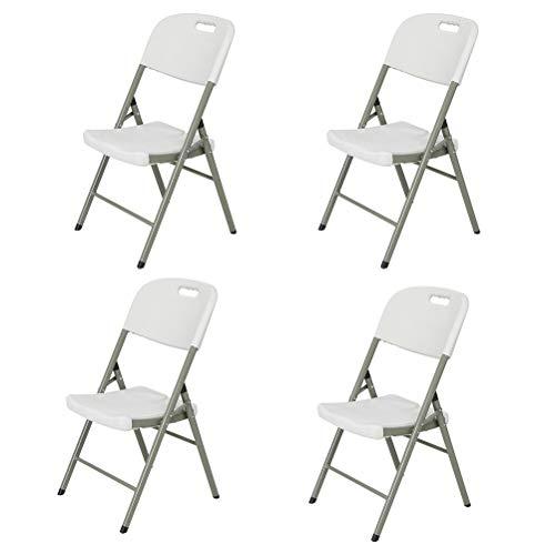 YPEZ 2-teiliges Durable Einzel Chair (Tragender 500 Pfund weniger Raum Faltbare Stühle), bequemen Sessel for Besprechungszimmer, Parties, Kaffeehäuser, Restaurants Weiß (Größe : 4 Pack)