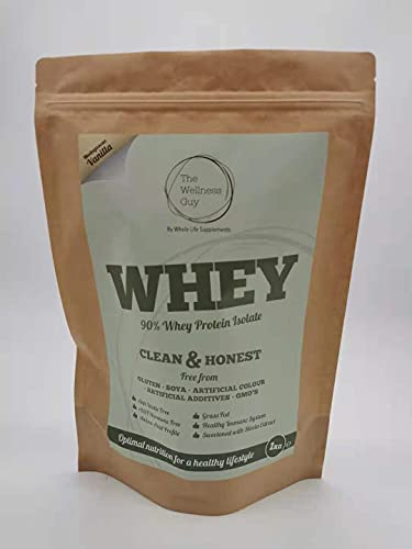 Vanilla Flavour Whey High Protein Powder 1kg Nutritious Vitamins, Minerals, and Vitamins by The Wellness Guy