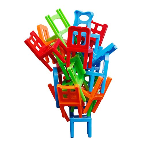 Guangao Chairs Stacking Towers Balancing Game for Parent-Child Interaction 18pcs Desktop Toy for Boy Girl