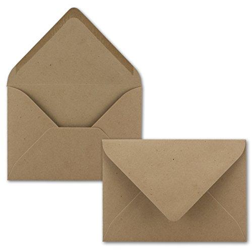 50x kleine Umschläge aus Kraftpapier in Sandbraun DIN C7 8,1 x 11,4 cm mit Spitzklappe und Nassklebung in 120 g/m² - Kleiner blanko Mini-Umschlag