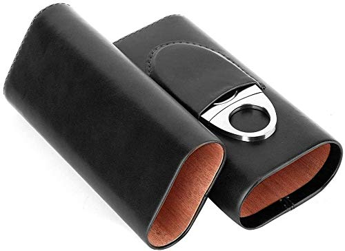 Zigarrene tui, tragbares Leder-Zigarrenetui Mit Zedernholz ausgekleidete Reise-Zigarrenetui mit Cutter (für 3 Zigarren)(Schwarz)