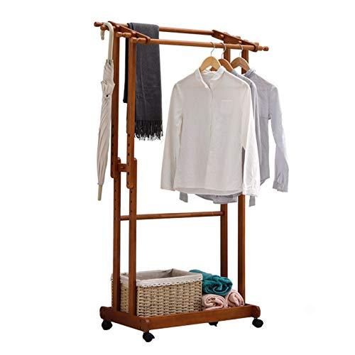 Clásico Soporte de soporte de perchero de pie, soporte de perchero, perchero de madera con ruedas, cojinete de carga fuerte, ajustable, sala de entrada de vestíbulo para ropa Sombreros Bolsos Sombrill