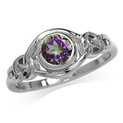 Silvershake Mystic Fire Topaz White Gold Plated 925 Sterling Silver Celtic Knot Ring Size 7.5