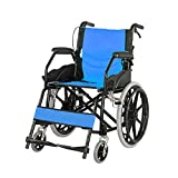 NACHENW Klappbarer Leichtgewicht-Rollstuhl aus Kohlenstoffstahl mit rutschfesten Armlehnen und Anti-Dekubitus-Kissen für Seniorenreisestühle,Blau -