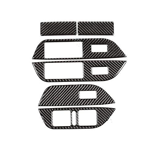 para V&W para T&ouareg 2011-2018 Fibra De Carbono Interior del Coche Panel De Ventana Interruptor Botón Marco Cubierta Embellecedora decoración Interiores