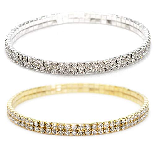 Shuning Sexy Anklets for Women Crystal Rhinestone Stretch Tennis Ankle Elastic Bracelet (Silver+Gold)