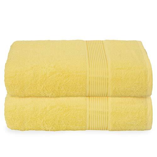 GLAMBURG Juego de 2 Toallas de baño de algodón de Gran tamaño, 100 x 150 cm, Grandes Toallas de baño, Ultra Absorbente, Compacto, Secado rápido y Ligero, Color Amarillo
