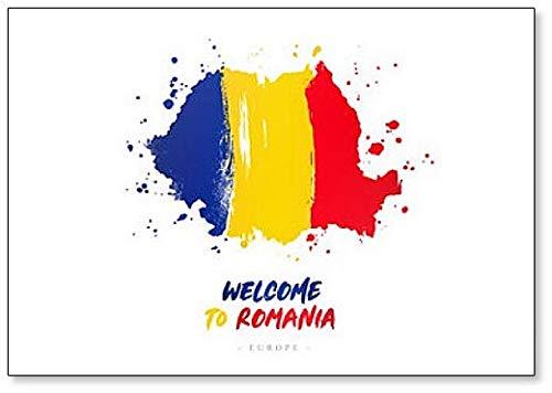 Welcome to Rumania. Flagge & Landkarte Kühlschrankmagnet