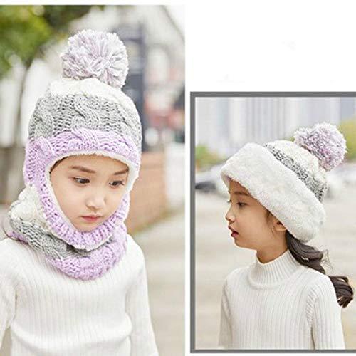 1 Stück Kinder Wintermütze Mädchen Junge Kinder häkeln warme Mütze Schal...
