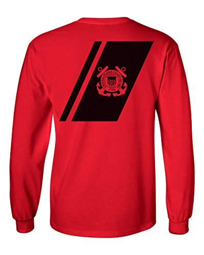 USCG US Coast Guard Racing Stripe Front & Back Red Long Sleeve Shirt USA (Red, Large)