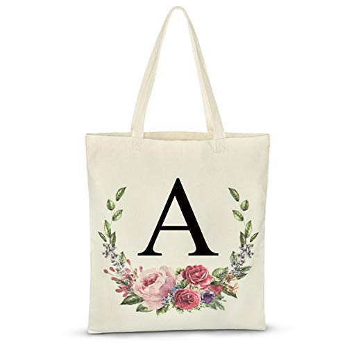 Personalized Floral Initial Tote Bags for women Canvas Tote Bags Reusable Grocery Shopping Bags for Bridesmaids Wedding Bachelorette Birthday Party Large Book Tote Gift Bags Eco - Friendly Letter A