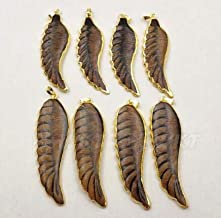 WT-P1240 Wholesale Fashion Jewelry Natural Buffalo Horn Carved Pendant with electroplated Bone Feather Shape Pendant Jewelry - (Metal Color: Gold Plated)