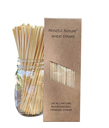 Mindful Nature Wheat Straws - 100 All-Natural Drinking Straws