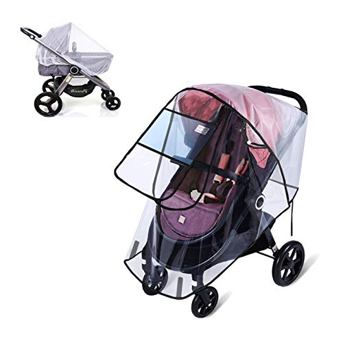 Rain Cover for Baby Stroller with Mosquito Net Universal Large Size Wind Cover Weather Shield EVA Stroller Cover Baby Travel Accessories