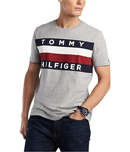 Tommy Hilfiger Mens Graphic T-Shirt (L, Gray)